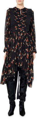 Isabel Marant Wesley Birds of Paradise Pleated Midi Dress