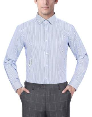 Verno Fashion Mens Navy Blue and White Striped Fabric Long Sleeve Classic Fit Dress Shirt