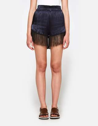 Ganni Donnelly Satin Shorts in Total Eclipse