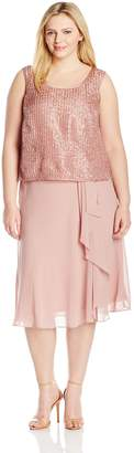 Le Bos Women's Plus-Size Pucker Satin Three Piece Skirt Set