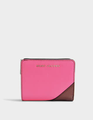 Marc Jacobs Saffiano Mini Compact Wallet in Pink Split Cow Leather