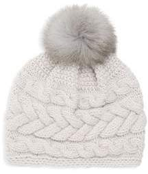 Inverni Beatrice Fox Fur Pom Pom Cable Knit Beanie