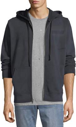 Men's Type-O1 Washed Jersey Zip-Front Hoodie, Black
