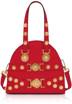 Versace Red And Gold Small Tribute Satchel Bag