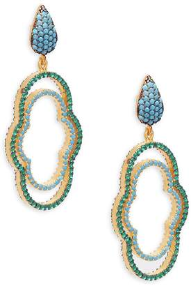 Azaara Women's Crystal and Sterling Silver Drop Earrings