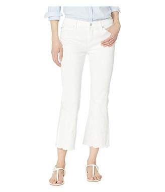 Liverpool Lucy Crop Flare w/ Embroidered Hem in Bright White