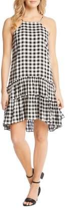 Karen Kane Gingham Ruffle Hem Halter Top Dress