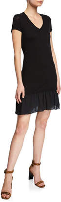 ATM Anthony Thomas Melillo V-Neck Short-Sleeve Slub Jersey Dress w/ Ruffle Detail