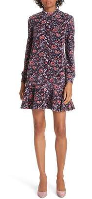 Rebecca Taylor Floral Velour Fit & Flare Dress