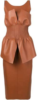 Fendi gathered bodice leather dress