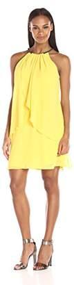 S.L. Fashions Women's Solid Chiffon Halter Dress