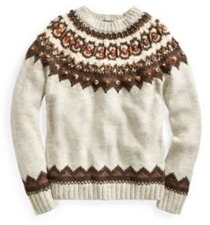 Ralph Lauren Beaded Fair Isle Sweater Tan Multi Xs