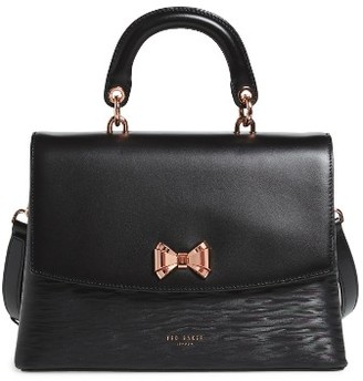 Ted Baker London Lady Bow Flap Top Handle Leather Satchel - Black $295 thestylecure.com