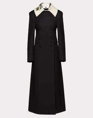 Valentino Light Drap Wool Coat With Undercover Print Collar Women Black 100% Lana 40