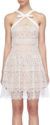 Self-Portrait Cross strap guipure lace sleeveless dress