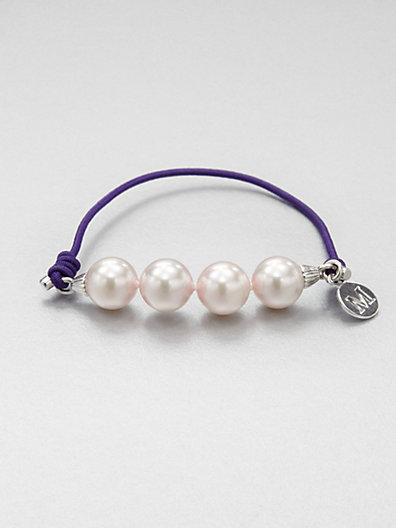 Majorica 10MM White Pearl Elastic Stretch Bracelet