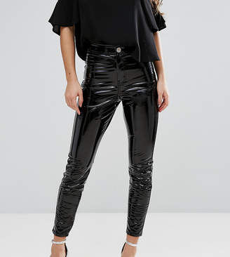 Asos RIVINGTON High Waisted Denim Jegging in Vinyl Effect