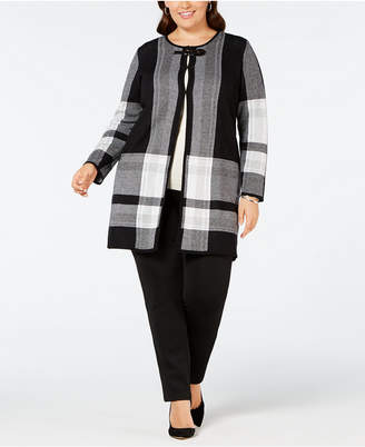Kasper Plus Size Plaid Sweater Jacket