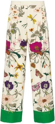 Gucci floral print wide-leg wool trousers