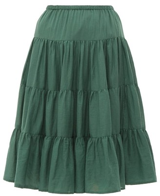 Loup Charmant Falco Tiered Cotton Voile Skirt - Womens - Green