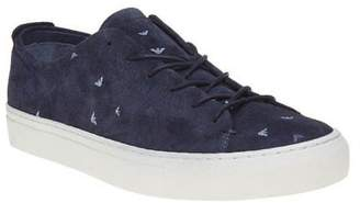 Armani Jeans New Mens Blue Logo Cup Suede Trainers Court Lace Up