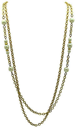 One Kings Lane Vintage Double-Strand & Faux-Pearl Link Necklace