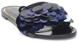 Lanvin Pailette Leather Slide Sandals