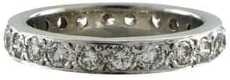 14K White Gold Bead Set 1.10 Ct Diamond Eternity Band Size 7 Ring