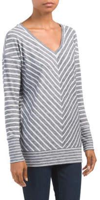 V-neck Mitered Striped Dolman Top