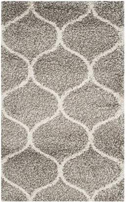 Safavieh Hudson Shag Collection SGH280B Grey and Ivory Moroccan Ogee Plush Area Rug 2' x 3'