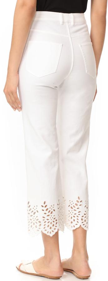 La Vie Rebecca Taylor Eyelet High Rise Straight Jeans 5