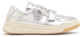 Acne Studios Steffey Low Top Leather Trainers - Womens - Silver
