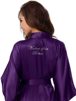 SIORO Personalized Satin Robes Bridal Wedding Party Pajamas Night Gowns for Mother of the Bride, Purple, M