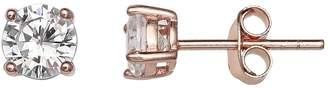 Primrose PRIMROSE 18k Rose Gold Over Silver Cubic Zirconia Stud Earrings