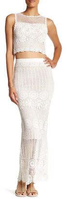 alice + olivia Griselda Long Linen Blend Crochet Skirt $495 thestylecure.com