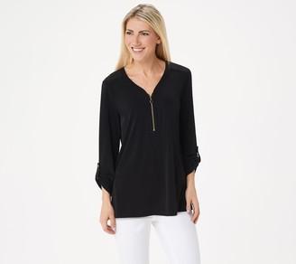 Susan Graver Liquid Knit Half-Zip Long-Sleeve Tunic