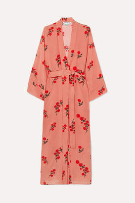 BERNADETTE - Peignoir Floral-print Silk Crepe De Chine Robe - Pink