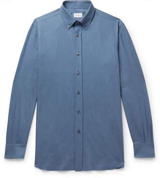 Brioni Button-Down Collar Cotton-Chambray Shirt - Blue
