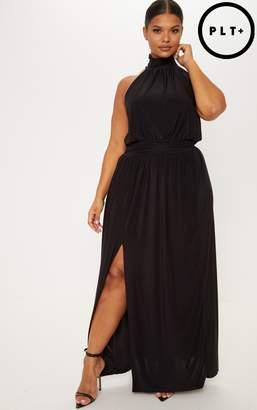 26883427db1d at PrettyLittleThing · PrettyLittleThing Plus Black Asymmetric Drape Split  Side Maxi Dress