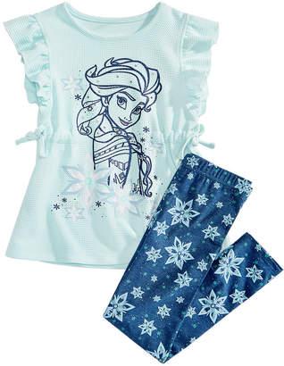 Disney Little Girls 2-Pc. Frozen Elsa Top & Leggings Set