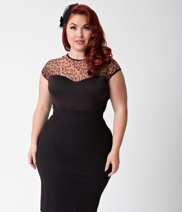 Steady Plus Size Black & Leopard Mesh Cap Sleeve Miss Fancy Top