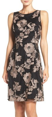 Women's Ivanka Trump Embroidered Mesh A-Line Dress $158 thestylecure.com