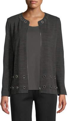 Misook Knit Zip-Front Jacket w/ Grommets, Plus Size