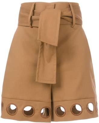 Sara Battaglia eyelet hem shorts