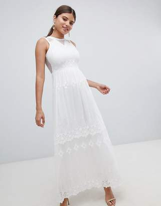 Missguided Embroidered Mesh Maxi Dress