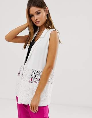Vero Moda lace insert sleeveless blazer