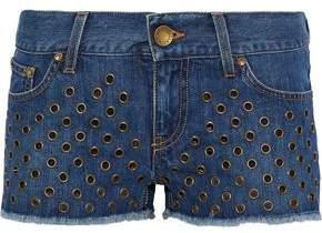 RED Valentino Eyelet-Embellished Frayed Denim Shorts