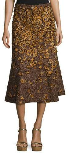 Michael Kors Feather-Embroidered Tweed Bouclé Skirt