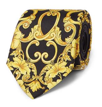 Versace 7cm Printed Silk-twill Tie - Black