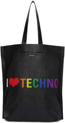 Balenciaga Black I Love Techno Shopper Tote
